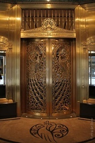 Peacock door at Palmer House Hotel in ChicagoPalmer House Chicago, Peacocks Doors, House Hotels, Public Art, Elevator Doors, Art Deco, Architecture Details, Jewelery Stores, Gorgeous Hotels