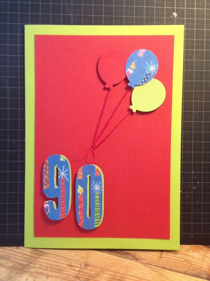 Birthday, 90 years, homemade cards