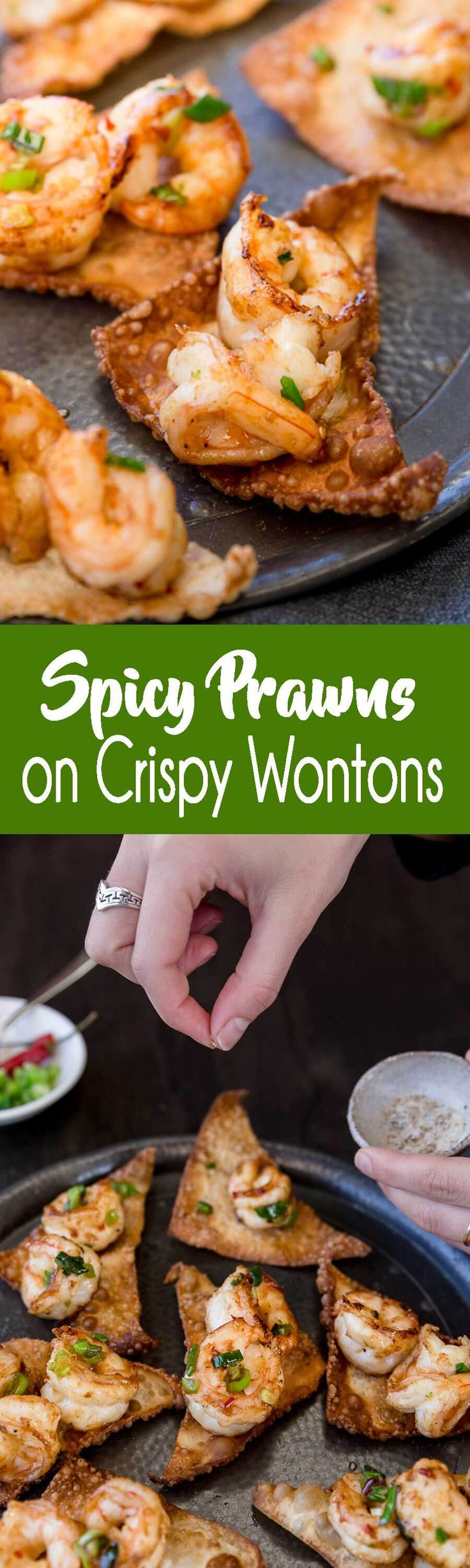Anyone need a good appetizer for football season? How about these amazing spicy prawns on crispy wontons? Soooo good.