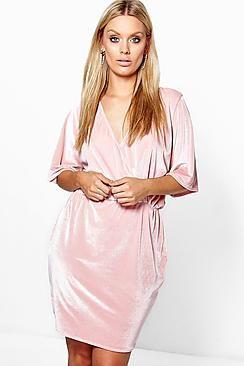 Plus Erin Velvet Wrap Over Dress