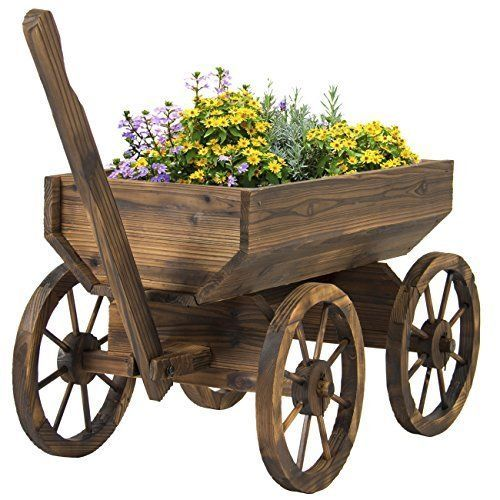 Wooden Wagon & Wheels Backyard Grow Flowers Planter Patio Yard Garden Home Decor #BestChoiceProducts