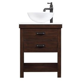 allen + roth Cromlee Bark Vessel Poplar Bathroom Vanity with Engineered Stone Top (Faucet Included) (Common: 24-in x 19-in; Actual: 24-in x 19-in)