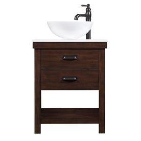 allen   roth Cromlee Bark Vessel Single Sink Poplar Bathroom Vanity with Engineered Stone Top (Faucet Included) (Common: 24-in x 19-in; Actual: 24-in x 19-in)