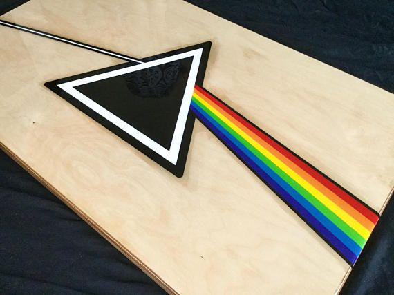 One of a kind Pink Floyd, Dark Side of the Moon coffee table. Created using 30mm thick Baltic Birch Plywood and inlayed with coloured resin. The table measures 100x60cm and is covered with a layer of clear epoxy resin, giving it a glass like finish which really brings out the colours in the resin and the grain of the birch. Custom made L Shape steel legs measuring 40x40x40cm each.