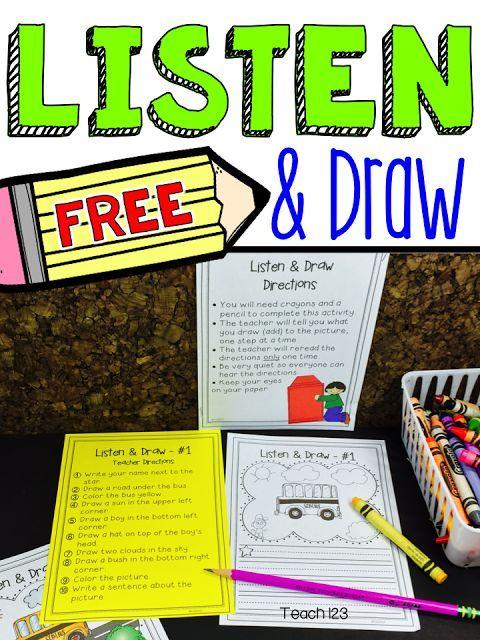 FREE Listening Skills lesson: Listen and Draw is a 20-30 minute whole group lesson that you can use to test and strengthen your students' listening abilities. The only supplies needed are the worksheet, a pencil, and crayons.