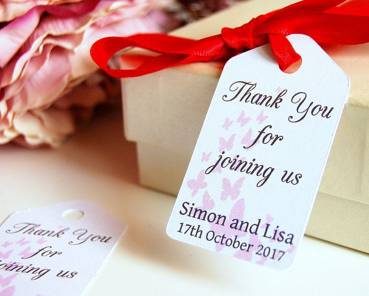 Wedding thank you tags, wedding favour tags, thank you wedding cards, wedding butterfly labels, favor labels, wedding favor tags by KraziCrochet on Etsy