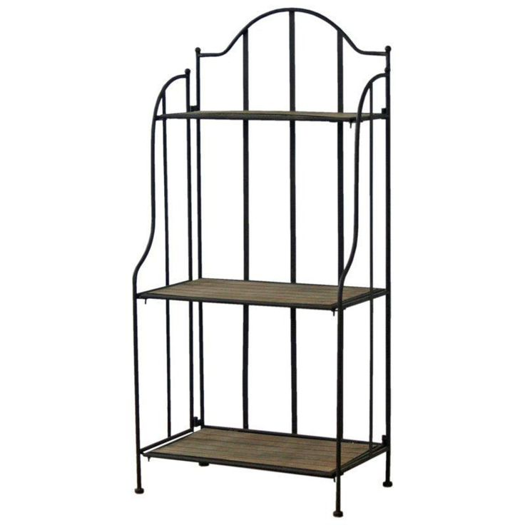 Black Metal Bookcase Brown Shelf French Style Wood Living Room Hallway Furniture