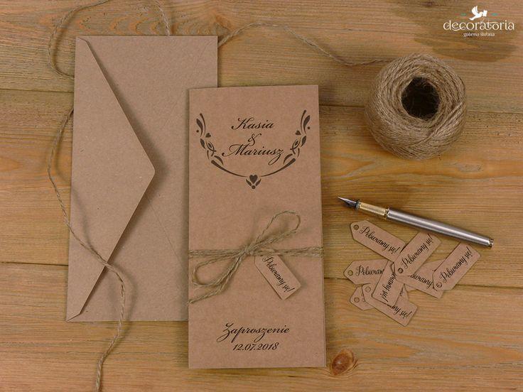 Eco wedding invites Zaproszenia ślubne - numerki na stoliki - papier ekologiczny i sznurek, w całości EKO