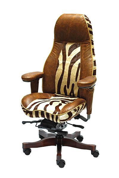 LIFEFORM 2390 Ultimate HB in Limited Edition Berkshire Bourbon with Hair On Hide Serengeti Chocolate Zebra Two Tone, Contrast Piping and Cherry Ultimate Wood Upgrade