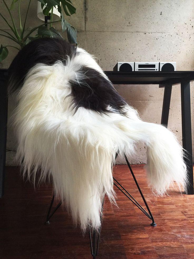 Work desk Luxury, featuring baaa's Natural Spotted Icelandic Sheepskin throw.