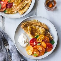 Ricotta Crèpes with Whipped Ricotta, Citrus, Honey, and Mint (Gluten-free) - Breakfast of your dreams right here! {recipe}