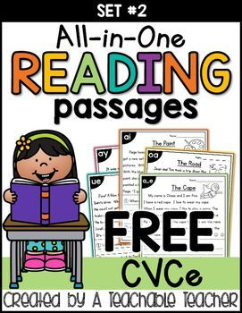 FREE All-in-One Reading PassagesEnjoy these new and FREE CVCe based reading passages that incorporate phonics, fluency and comprehension all at once! A cute journal cover is also included. =)These passages are related to (but not included in) my NEW All-in-One Reading Passage Bundle {Growing} SET TWO which is 50% OFF for a LIMITED TIME!...Or, you can find the original and BEST SELLING set here: All-in-One Reading Passage BundleYou can click here to see how I use these free stories in my…