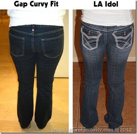 Same girl, same day, showing about 30 different pairs of jeans to help illustrate the importance of a good cut/fit/style. What to look for in pocket placement, flare, waist, etc. to best compliment your body.Finally! I am awful at buying jeans!