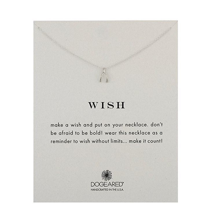dogeared wish teeny wishbone necklace in sterling silver - shophearts