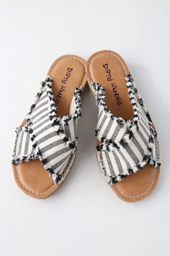 e92d33eec9e8 Step into sunny vibes with the Dirty Laundry Edina Black Striped Slide  Sandals! These cute