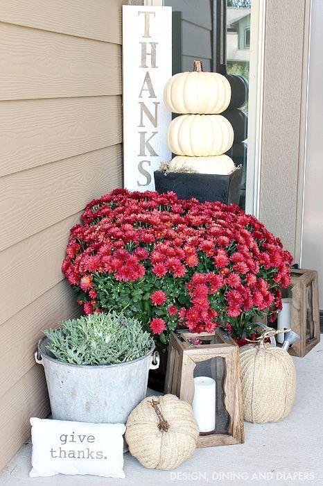 Neutral Fall Porch with Mums, pumpkin topiary and rustic touches