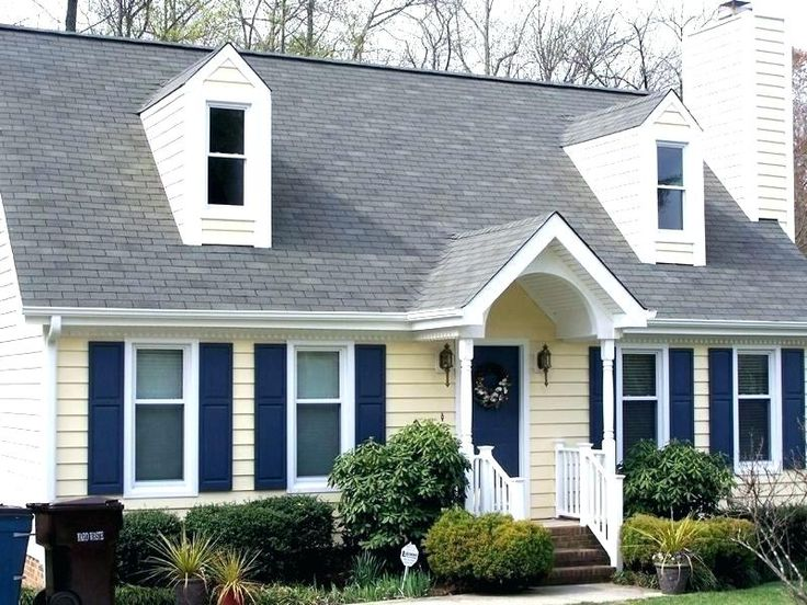 Best Yellow House Dark Blue Shutters Gray Roof With Images 400 x 300