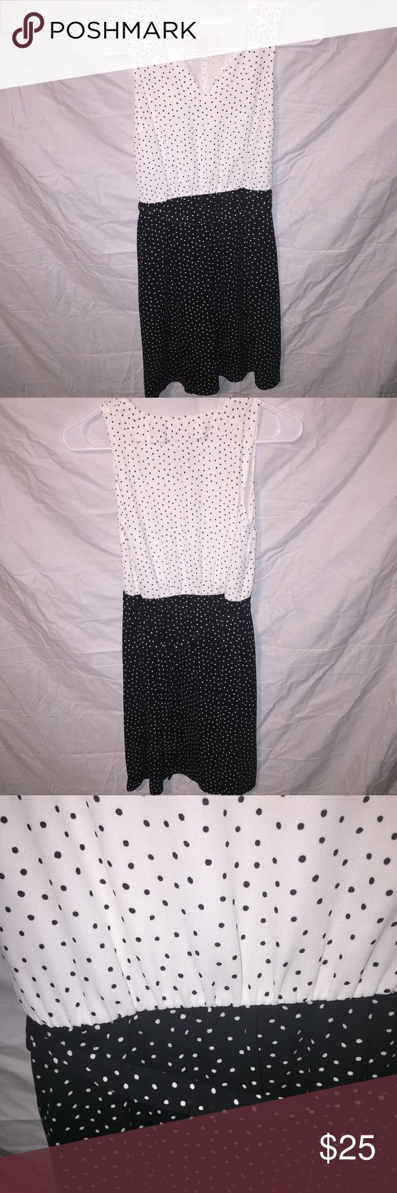 Ann Taylor Loft petite dot belted dress Contrastive black and white dress features coordinating self tie belt. Gorgeous dress is perfect for a day at the office. Ann Taylor Loft Dresses