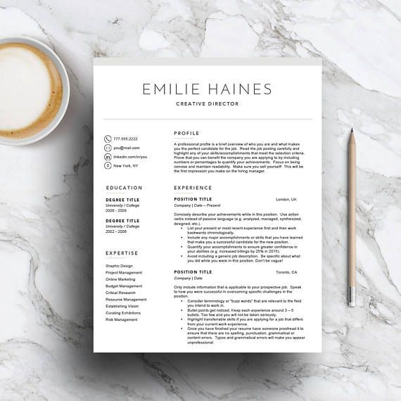 Professional resume template for Word & Pages (1, 2 and 3 page resume, cover letter, letterhead and icon set) | CV |  Instant Download