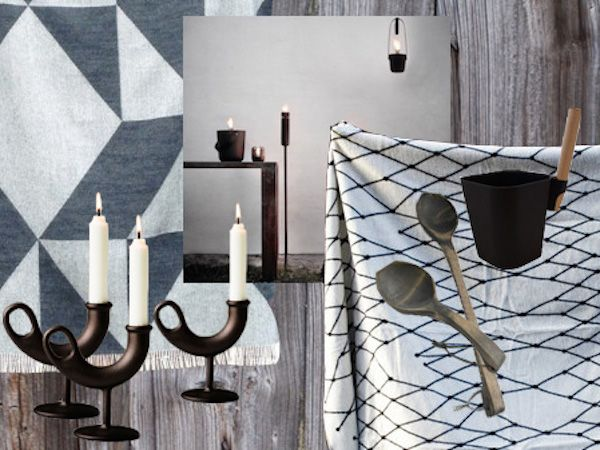 Winter Interior Inspiration by the archipelago.  Nedrefassgard Ildhane Candle holder // The Gridd Blanket // Focus on Twill Tina Ratzer Blanket // Menu Fire Torch for Outdoor Lightning // Sauna accessories from Emendo & Tynnyrikauppa.