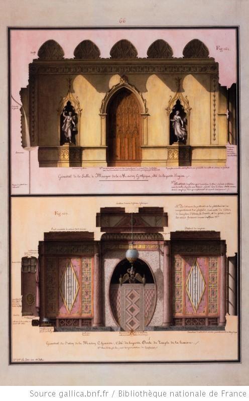 [La salle à manger de la maison gothique et le salon de la maison chinoise] Autor :Lequeu, Jean Jacques (1757-1825?). Dessinateur