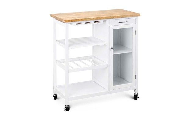 Ovela Deluxe Rubberwood Top Kitchen Storage Trolley & Workbench $95