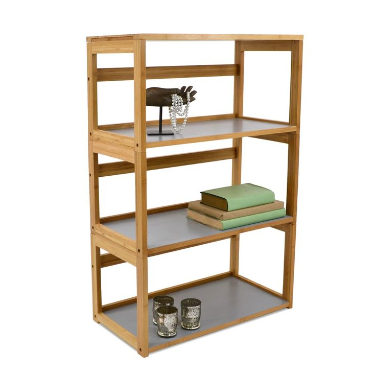 Gray 3 Tier Bamboo Stacking Bookshelf Available From Storables Com Bookshelves Shelves Organizing Your Home