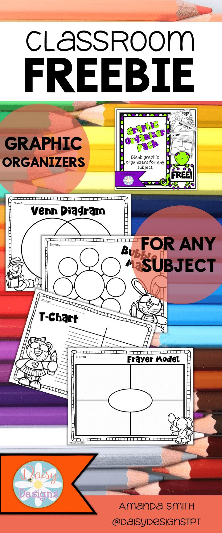 Quick and easy to print graphic organizers for any subject. These NO PREP printables are perfect for primary grade levels and can be used for anything!