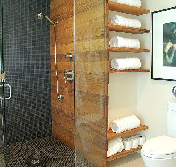 Badezimmer Regale Wandgestaltung Holz Glas Trennwand Duschkabine