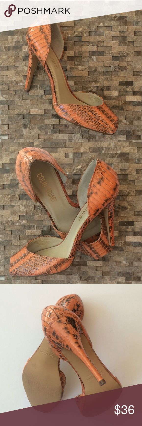 """New! Colin Stuart Snakeskin Heels New! Colin Stuart Snakeskin Heels...genuine snakeskin...leather lining...burnt orange...squared open toe...4"""" heel...these shoes are unworn...original box not included. Retail $98 Colin Stuart Shoes Heels"""