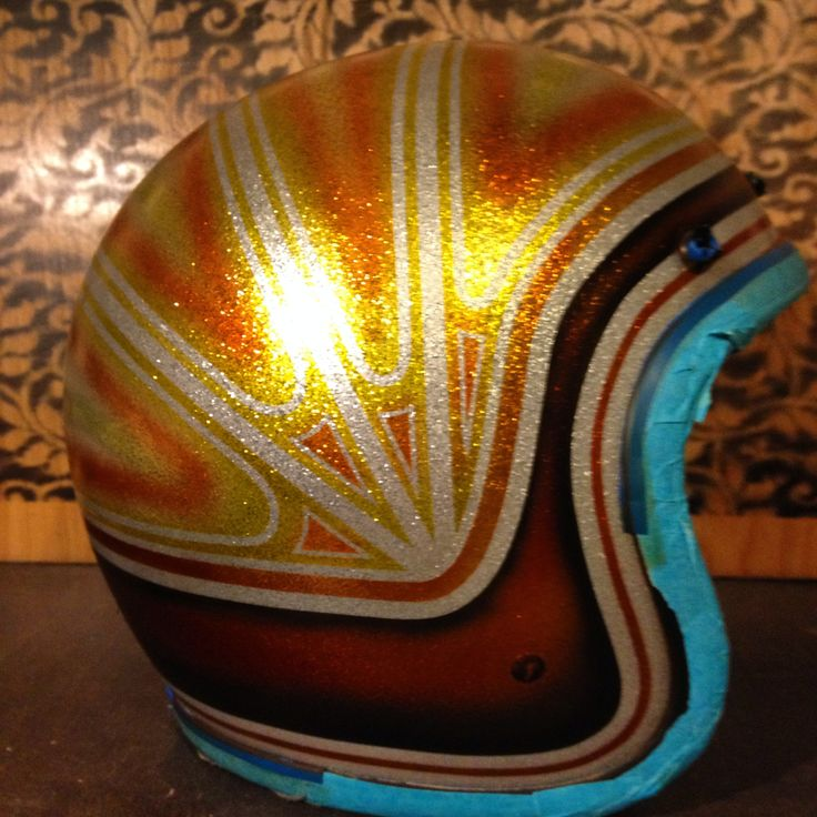 Fulmer Helmet in Orange and Gold candy, with Sunburst Stripe. Please excuse the blue tape!