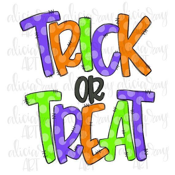 Trick Or Treat Doodle Letters Sublimation Png Design Hand Etsy Doodle Lettering Halloween Digital Doodles