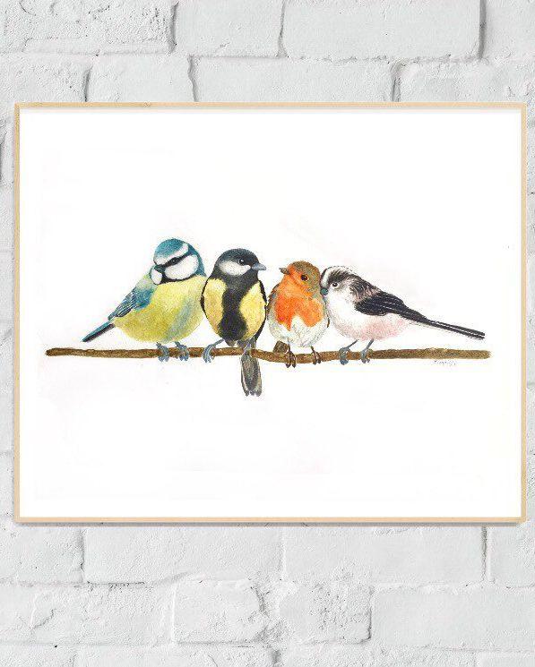 British Backyard Birds print. Birds prints. Woodlands artwork prints. British fowl artwork prints. Birds portray. Birds decor