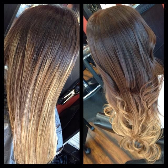 From highlights with roots showing to a chocolate brown & highlighted blonde ombré