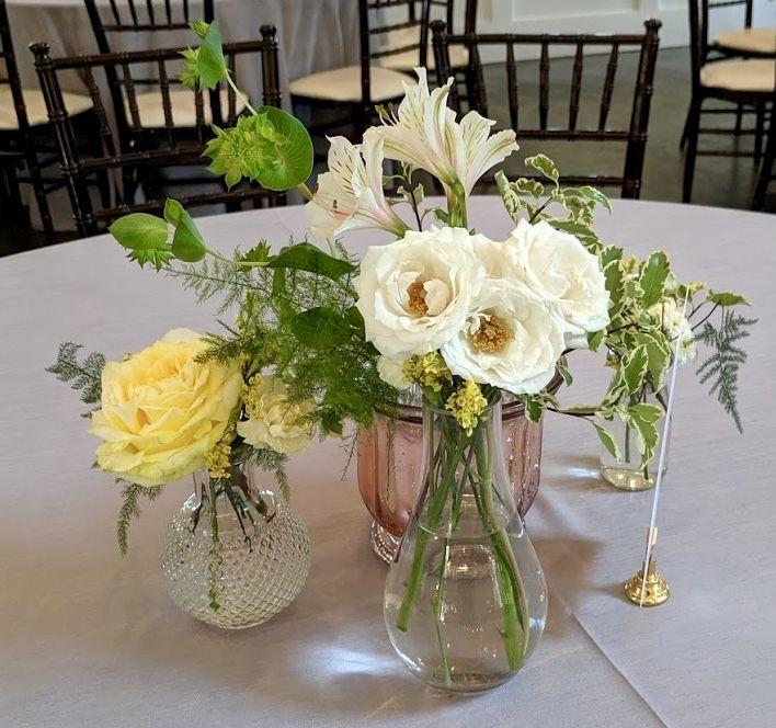 Set Of Three Bud Vases With Rose Spray Rose Alstroemeria Mini
