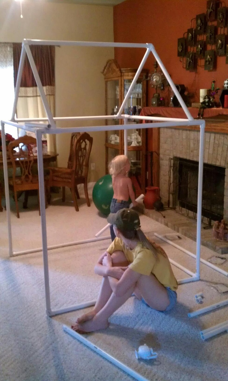 this is the pvc fort i made using plans from Pinterest.