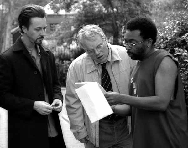 Spike Lee with Edward Norton and Philip Seymour Hoffman on the set of 25th Hour (2002).
