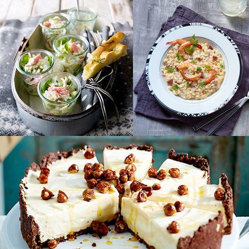 Au menu ce week-end : jolies verrines pour salades fines, risotto terre/mer et cheesecake aux noisettes caramélisées !
