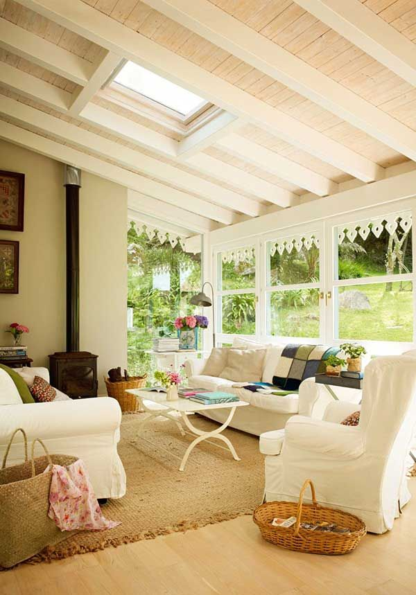 Sun room with lots of windows and woodstove to prolong use into cooler weather.