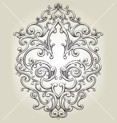Fancy fleur de lies frame vector 299807 - by krookedeye on VectorStock®