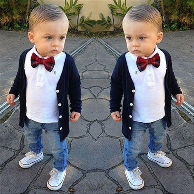 Moda Otoño 2016 Ropa de los Cabritos Muchachos 3 unids Fijó el Estilo Preppy Blusa + camisa + Pantalones + Pajarita Traje de Bebé Ropa bebe