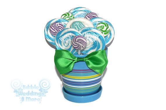 Blue.White Purple Green Lollipop Arrangement by EdibleWeddings, $24.99