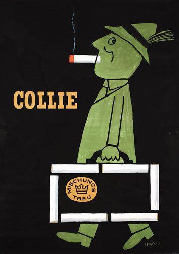By Savignac, 1 9 5 2, cigarettes Collie.