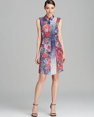 Misha Nonoo Dress - Sleeveless Print Belted Shirt Silk