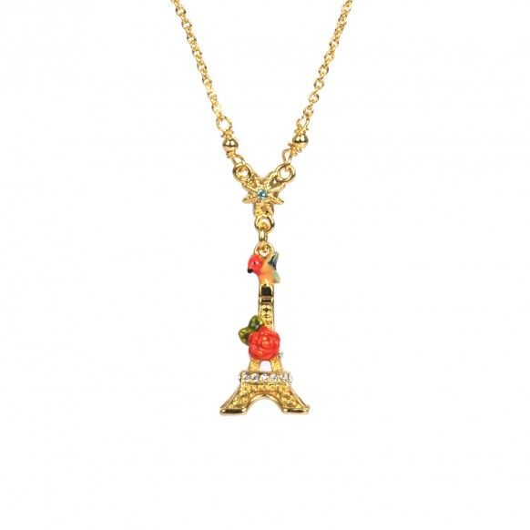 Eiffel tower and red rose necklace