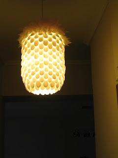 i made it!plastic spoon lamp!