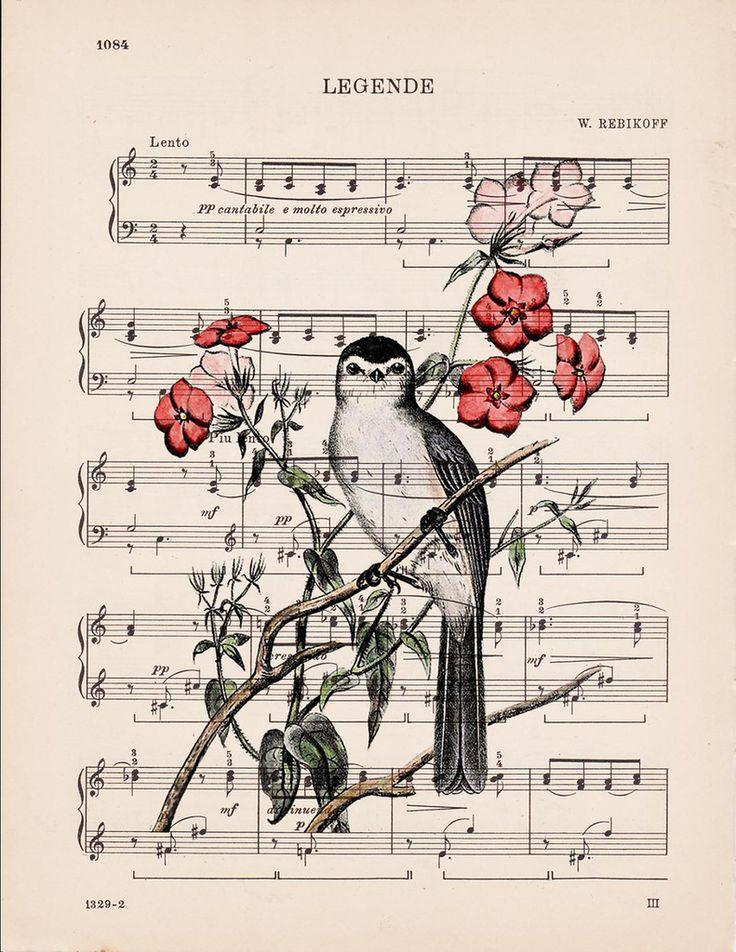 Тебя, открытка с нотами и птичками