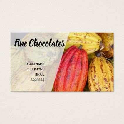Organic Cacao Bean Pods for Making Chocolate Business Card - diy and cyo