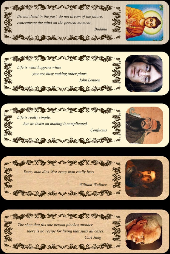 5 famous quotes bookmarks pack1 by Tmaniashop on Etsy, €1.50