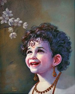 Dilip Kadam. Lord Krishna, in his infant avatar. Kadam has tried to concentrate only on the facial expressions of the popular god, showing sweetness, tenderness, charm and serenity.